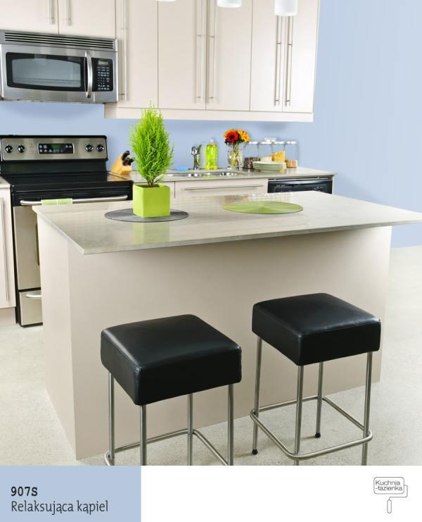 Kolorowe aranżacje kuchni Jaki kolor farby do kuchni? -> Niebieska Kuchnia Inspiracje