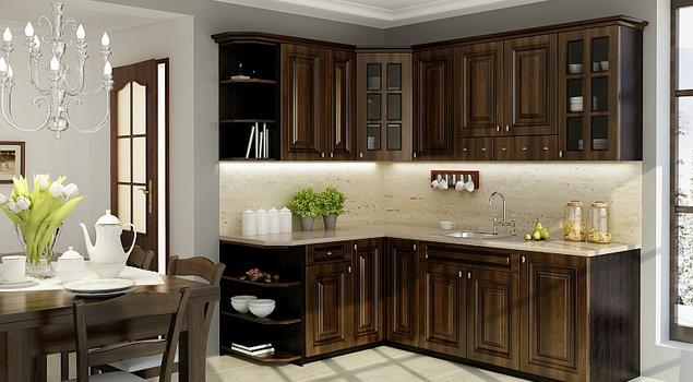 Klasyczne meble kuchenne w aranżacji kuchni Brązowa kuc   -> Kuchnia Brązowe Meble Jaki Kolor Ścian